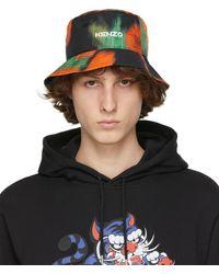 KENZO ブラック & オレンジ ロゴ バケット ハット
