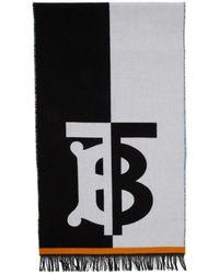 Burberry - ブルー And ホワイト ウール フットボール マフラー - Lyst
