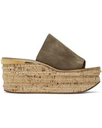 Chloé Grey Camille Wedge Mules - Multicolour