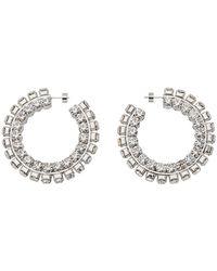 Area Silver Stacked Crystal Round Hoop Earrings - Metallic