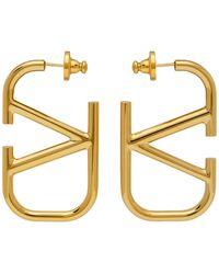 Valentino Garavani Gold Vlogo Hoop Earrings - Metallic