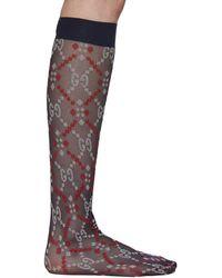 Gucci Navy Jacquard Mesh GG Socks - Blue