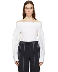 Looking For Cheap Online Navy Off-the-Shoulder Blouse Cedric Charlier Recommend For Sale Brand New Unisex Clearance Cheapest Price Cheap Sale Reliable UYvY8