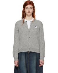 Play Comme des Garçons - Grey And White Heart Cardigan - Lyst