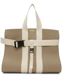 Sunnei Taupe And Off-white Parallelepipedo Tote - Natural
