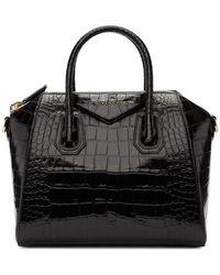 Givenchy Croc Embossed Small Antigona Leather Shoulder Bag - Black