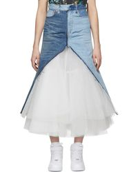 Junya Watanabe - Denim And Tulle Maxi Skirt - Lyst