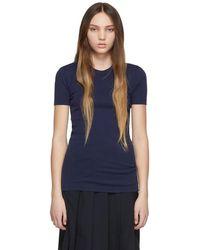 Maison Kitsuné ネイビー プロフィール フォックス パッチ T シャツ - ブルー