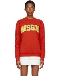 MSGM - Red College Logo Sweatshirt - Lyst
