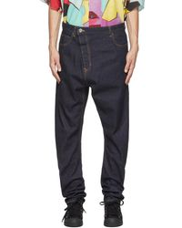 Vivienne Westwood Navy Asymmetric Jeans - Blue