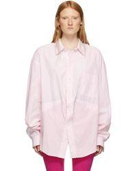 Balenciaga Pink And White Swing Shirt