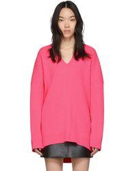 Balenciaga ピンク ニット V ネック セーター