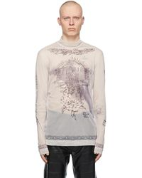 Givenchy Beige Mesh Tattoo Shrine Long Sleeve T-shirt - Natural