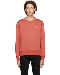Acne Studios Pull molletonne rouge Fairview Patch