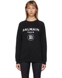 Balmain Pull a logo floque noir