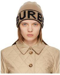 Burberry Bonnet en cachemire beige Intarsia Logo - Neutre