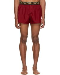 Versace Red Greek Key Border Swim Shorts