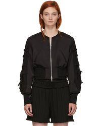 3.1 Phillip Lim - Black Gathered Sleeve Bomber Jacket - Lyst