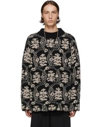 Dries Van Noten Black And Off-white Jacquard Sweater
