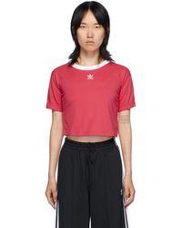 adidas Originals - ピンク ロゴ クロップ T シャツ - Lyst