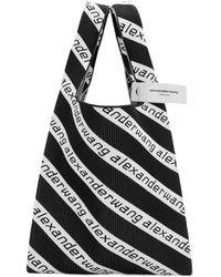 Alexander Wang Black And White Large Jacquard Logo Shopper Tote