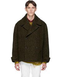 JW Anderson Brown Oversized Herringbone Coat