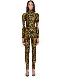 Versace Jeans Couture Combinaison a motif cachemire imprime noire et doree - Multicolore