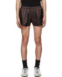 Enfants Riches Deprimes Brown Chequered Running Shorts