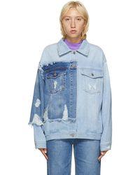 SJYP ブルー デニム カラー コントラスト ジャケット
