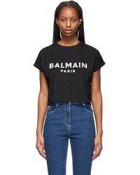 Balmain - ブラック クロップド ロゴ T シャツ - Lyst