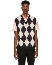Alexander McQueen Mohair Blend Argyle Vest - Black
