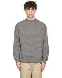 Nanamica White & Grey Striped Sweatshirt