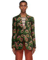 Gucci Blazer en velours fleuri vert Palace edition Ken Scott