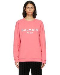 Balmain - ピンク And ホワイト ロゴ スウェットシャツ - Lyst