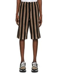 Fendi Black And Brown Terry Bermuda Shorts