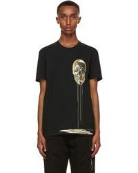 Alexander McQueen - Black & Gold Skull Print T-shirt - Lyst
