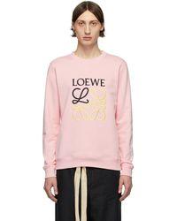 Loewe ピンク エンブロイダリー アナグラム スウェットシャツ