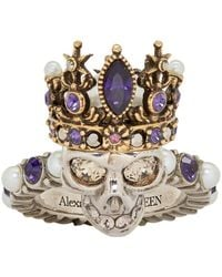 Alexander McQueen Silver And Gold Queen Skull Ring - Multicolour