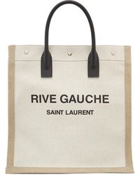 Saint Laurent Cabas blanc casse et brun clair Rive Gauche Shopping