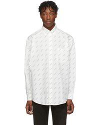 Balenciaga ホワイト & ブラック オールオーバー ロゴ シャツ