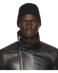 Rick Owens Black Wool Medium Rib Beanie