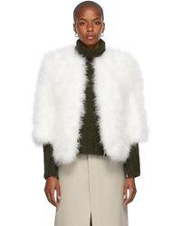 Yves Salomon ホワイト フェザー & シルク ジャケット