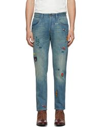 Gucci Blue Symbol Tapered Jeans