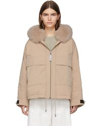 Army by Yves Salomon Pink Down And Fur Bachette Jacket - Natural