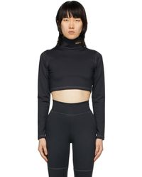 Pyer Moss - Black Embroidered Logo Cropped Turtleneck - Lyst