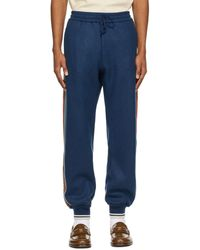 Gucci Blue Cashmere Webbing Joggers