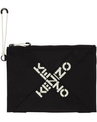 KENZO - ブラック ラージ Sport ロゴ ポーチ - Lyst