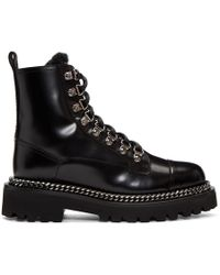 Balmain - Black Fur Army Boots - Lyst