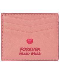 Miu Miu - Pink Madras Love Card Holder - Lyst
