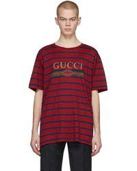 Gucci - レッド ストライプ ロゴ T シャツ - Lyst